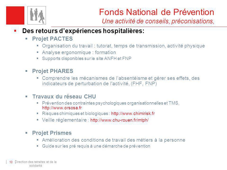 Direction des retraites et de la solidarité 10 Fonds National de Prévention Une activité de conseils, préconisations, Des retours dexpériences hospita
