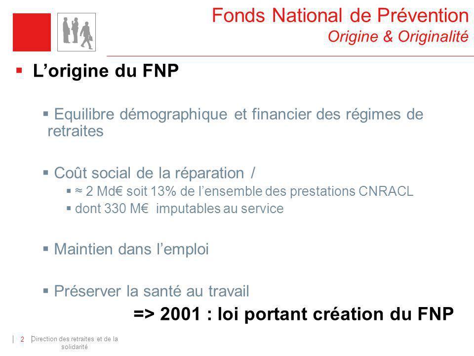Direction des retraites et de la solidarité 2 Fonds National de Prévention Origine & Originalité Lorigine du FNP Equilibre démographique et financier