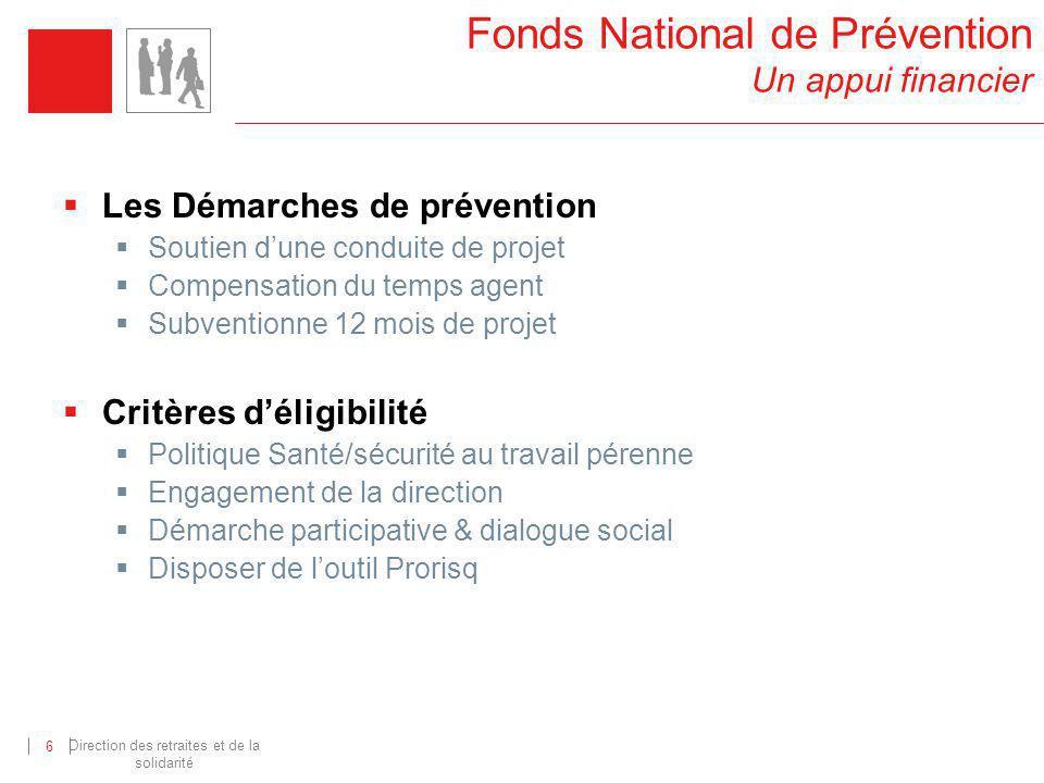 Direction des retraites et de la solidarité 6 Les Démarches de prévention Soutien dune conduite de projet Compensation du temps agent Subventionne 12