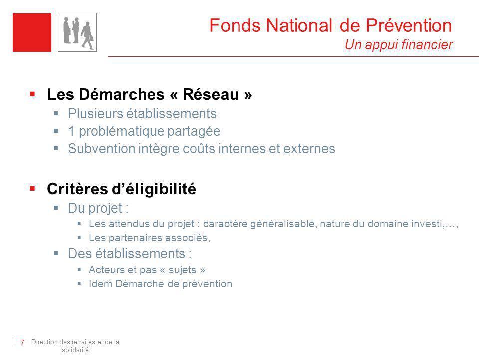 Direction des retraites et de la solidarité 8 Fonds National de Prévention Un appui financier Les projets « Recherche- action » A linitiative du FNP Sur appel à projet Compensation temps agents établissements Id.