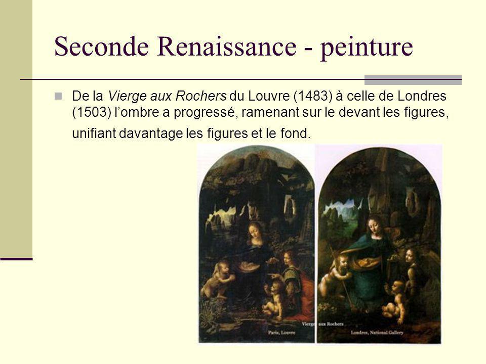 Seconde Renaissance - peinture De la Vierge aux Rochers du Louvre (1483) à celle de Londres (1503) lombre a progressé, ramenant sur le devant les figu
