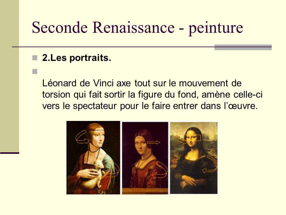 2.Les portraits. Léonard de Vinci axe tout sur le mouvement de torsion qui fait sortir la figure du fond, amène celle-ci vers le spectateur pour le fa