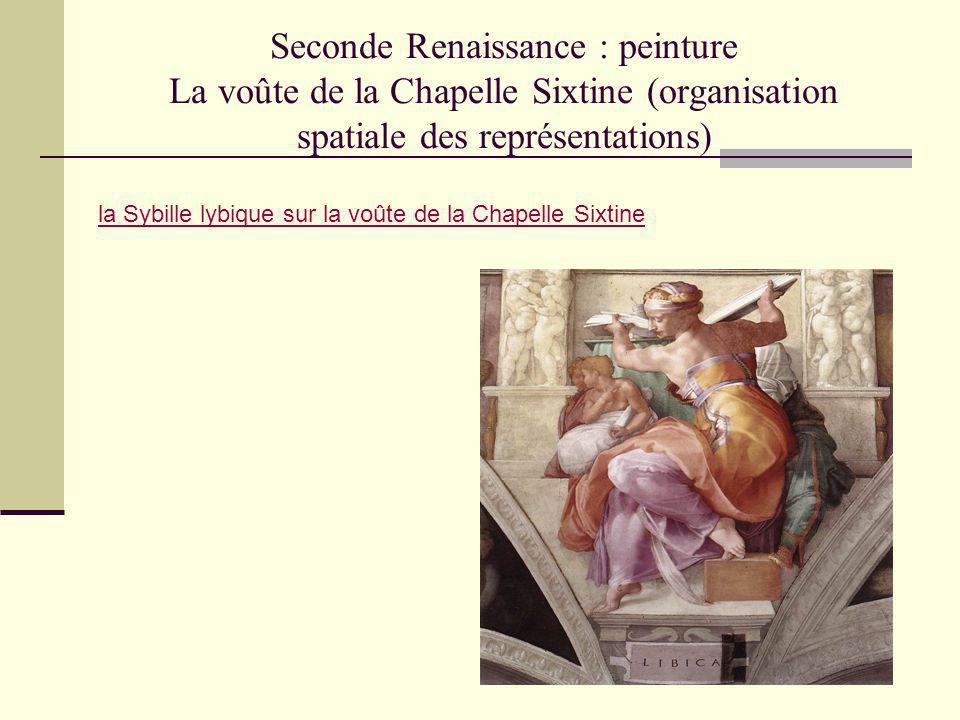 Seconde Renaissance : peinture La voûte de la Chapelle Sixtine (organisation spatiale des représentations) la Sybille lybique sur la voûte de la Chape