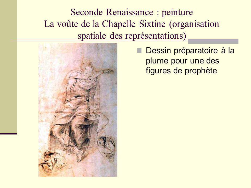 Seconde Renaissance : peinture La voûte de la Chapelle Sixtine (organisation spatiale des représentations) Dessin préparatoire à la plume pour une des