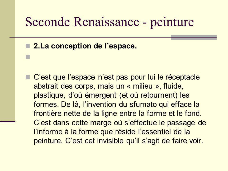 Seconde Renaissance - peinture 2.La conception de lespace. Cest que lespace nest pas pour lui le réceptacle abstrait des corps, mais un « milieu », fl