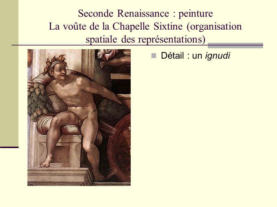Seconde Renaissance : peinture La voûte de la Chapelle Sixtine (organisation spatiale des représentations) Détail : un ignudi