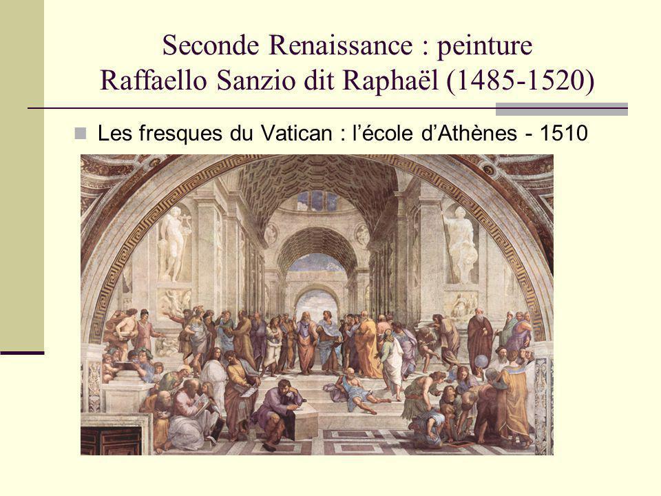Seconde Renaissance : peinture Raffaello Sanzio dit Raphaël (1485-1520) Les fresques du Vatican : lécole dAthènes - 1510