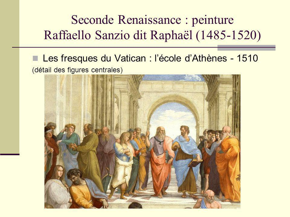 Seconde Renaissance : peinture Raffaello Sanzio dit Raphaël (1485-1520) Les fresques du Vatican : lécole dAthènes - 1510 (détail des figures centrales