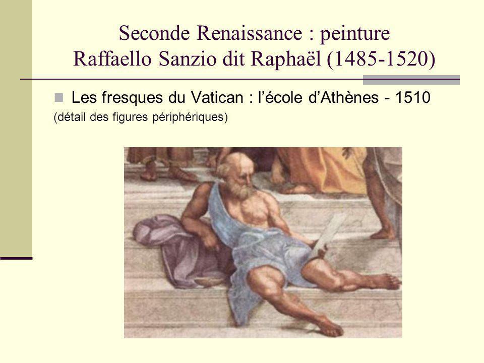 Seconde Renaissance : peinture Raffaello Sanzio dit Raphaël (1485-1520) Les fresques du Vatican : lécole dAthènes - 1510 (détail des figures périphéri