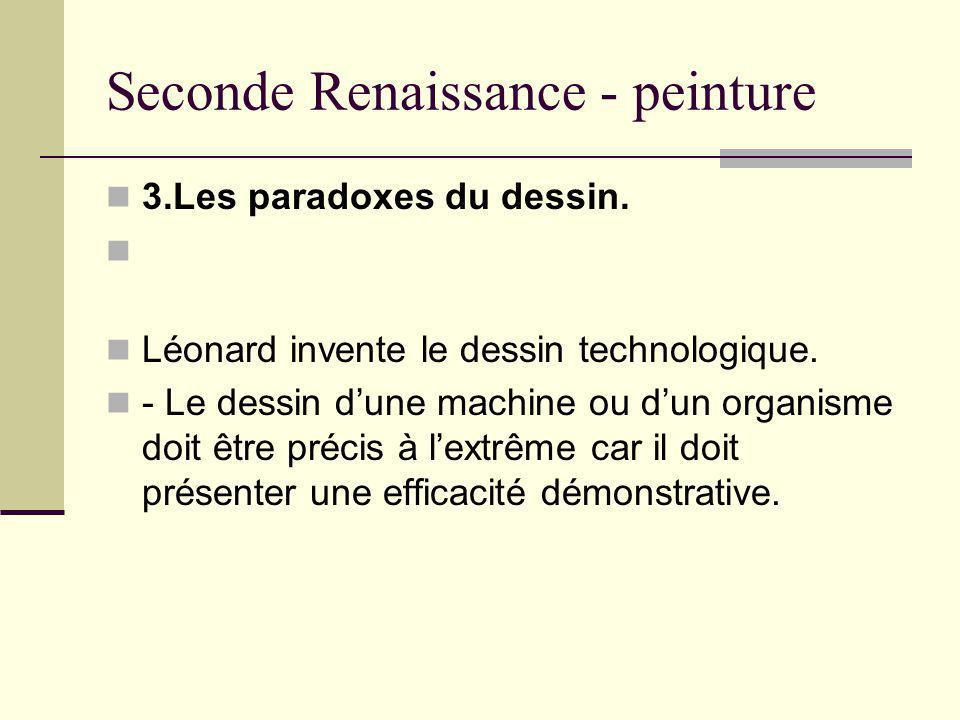 Seconde Renaissance - peinture 3.Les paradoxes du dessin. Léonard invente le dessin technologique. - Le dessin dune machine ou dun organisme doit être