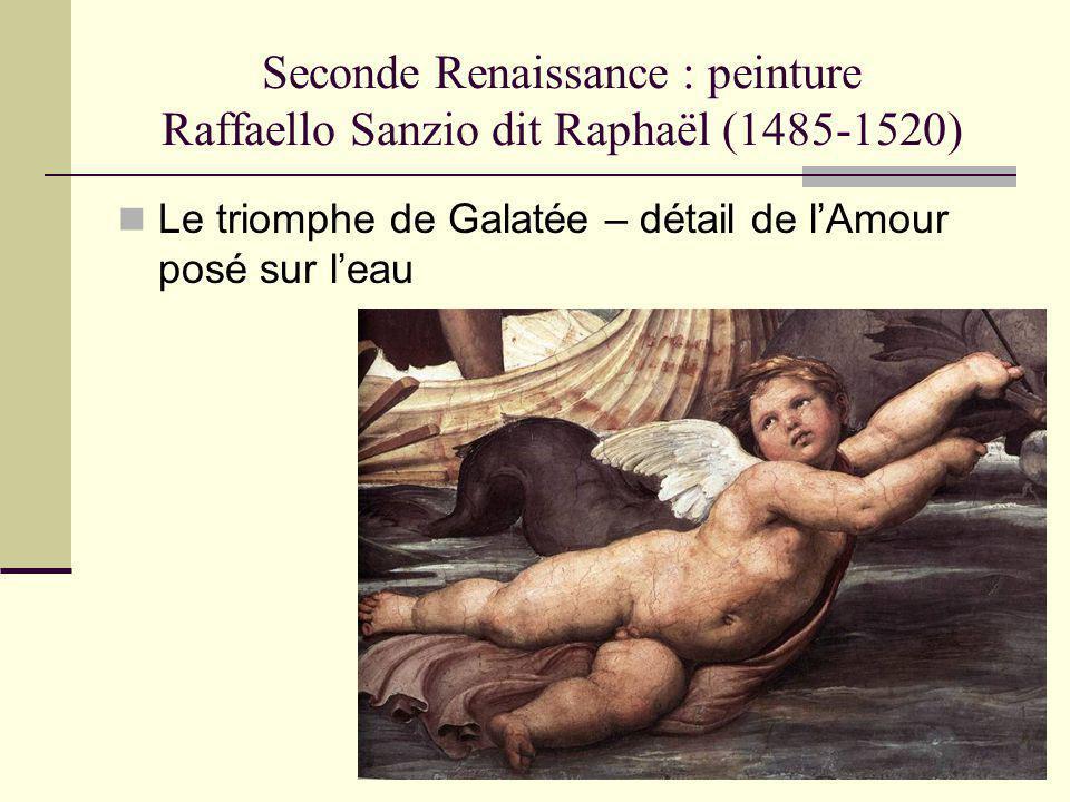 Seconde Renaissance : peinture Raffaello Sanzio dit Raphaël (1485-1520) Le triomphe de Galatée – détail de lAmour posé sur leau