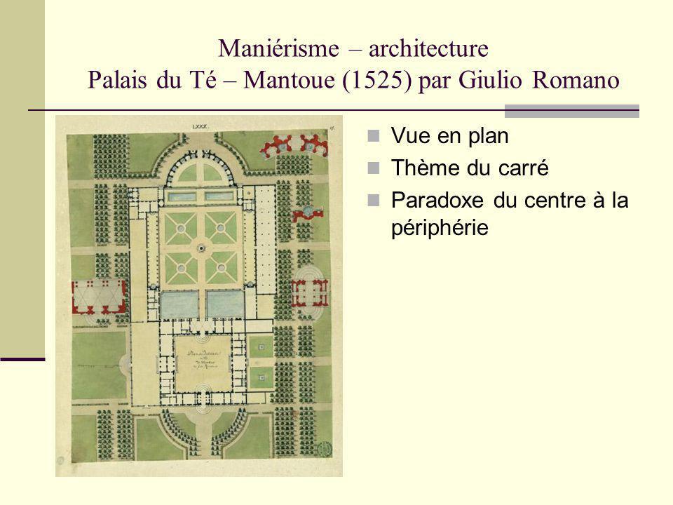 Maniérisme – architecture Palais du Té – Mantoue (1525) par Giulio Romano Vue en plan Thème du carré Paradoxe du centre à la périphérie