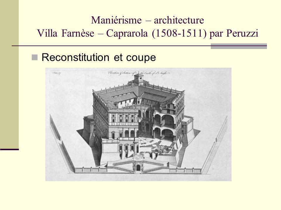 Maniérisme – architecture Villa Farnèse – Caprarola (1508-1511) par Peruzzi Reconstitution et coupe
