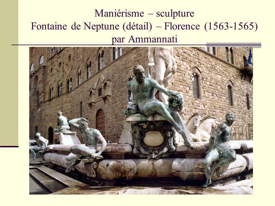 Maniérisme – sculpture Fontaine de Neptune (détail) – Florence (1563-1565) par Ammannati