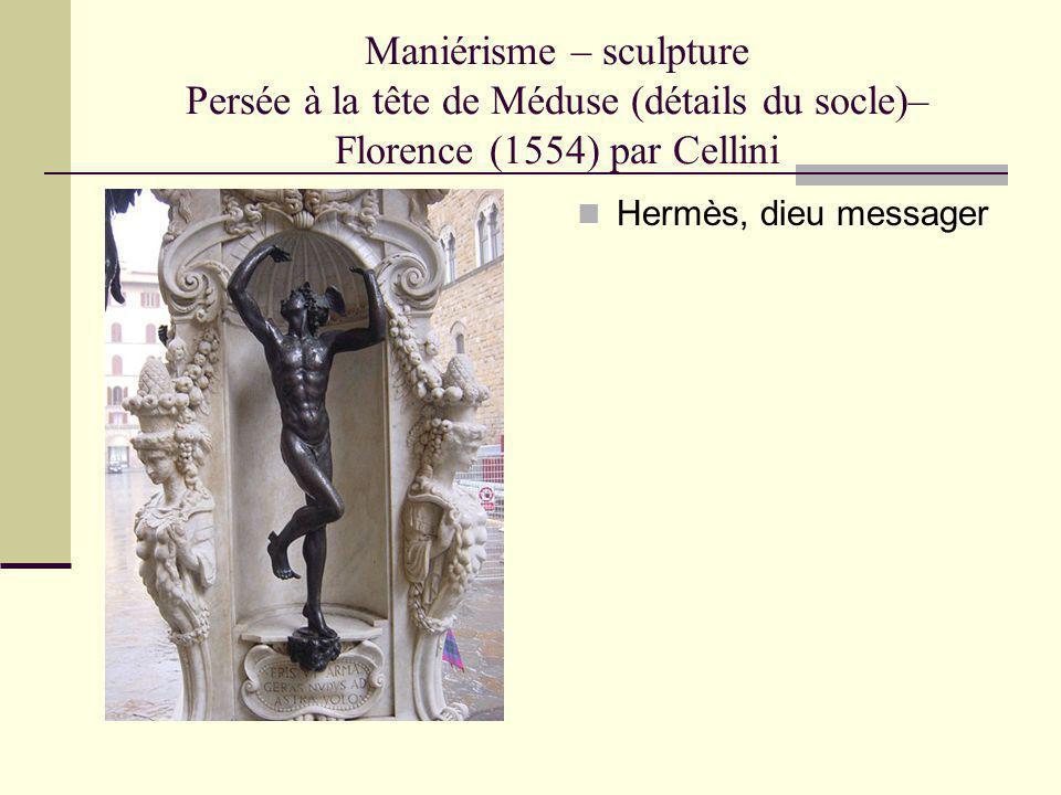 Maniérisme – sculpture Persée à la tête de Méduse (détails du socle)– Florence (1554) par Cellini Hermès, dieu messager