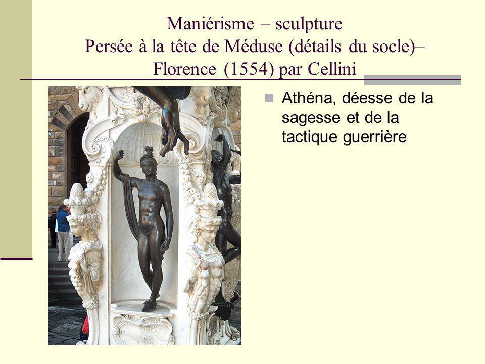 Maniérisme – sculpture Persée à la tête de Méduse (détails du socle)– Florence (1554) par Cellini Athéna, déesse de la sagesse et de la tactique guerr