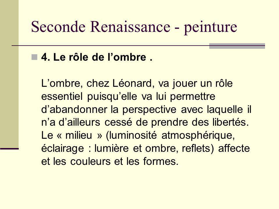 Seconde Renaissance - peinture 4. Le rôle de lombre. Lombre, chez Léonard, va jouer un rôle essentiel puisquelle va lui permettre dabandonner la persp