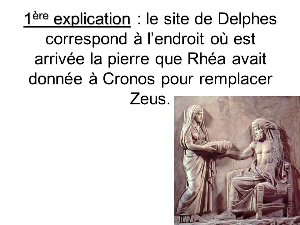 1 ère explication 1 ère explication : le site de Delphes correspond à lendroit où est arrivée la pierre que Rhéa avait donnée à Cronos pour remplacer