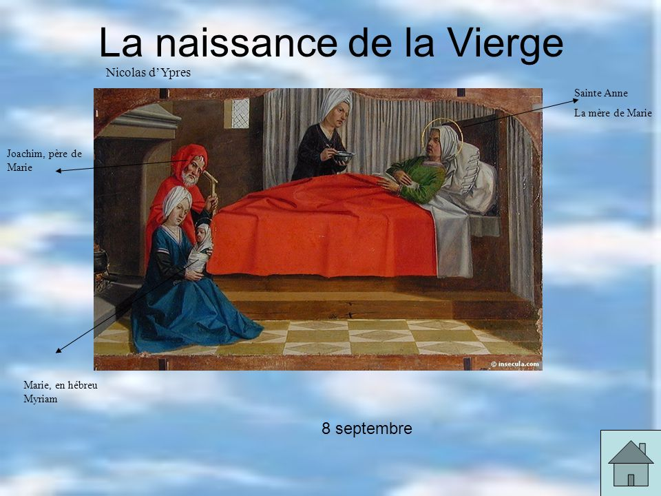 La naissance de la Vierge Nicolas dYpres Sainte Anne La mère de Marie Joachim, père de Marie Marie, en hébreu Myriam 8 septembre