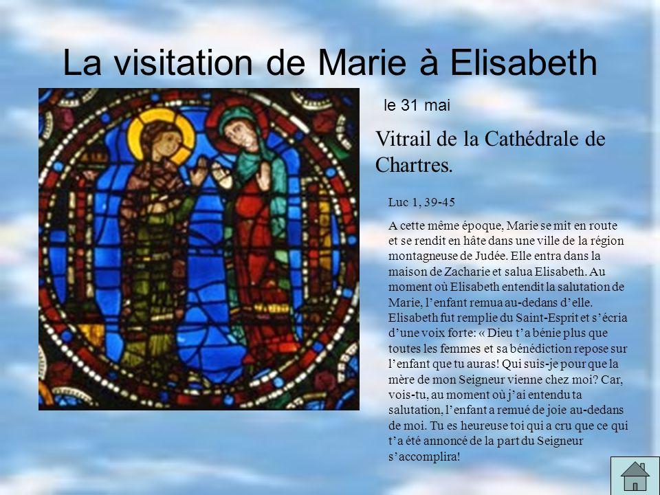 La visitation de Marie à Elisabeth Vitrail de la Cathédrale de Chartres.