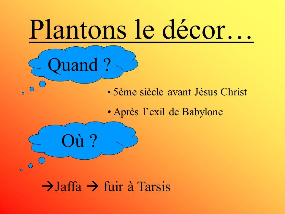 Plantons le décor… Quand .5ème siècle avant Jésus Christ Après lexil de Babylone Où .