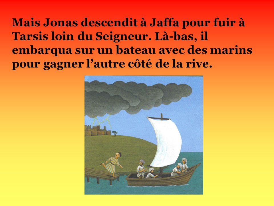Mais Jonas descendit à Jaffa pour fuir à Tarsis loin du Seigneur.