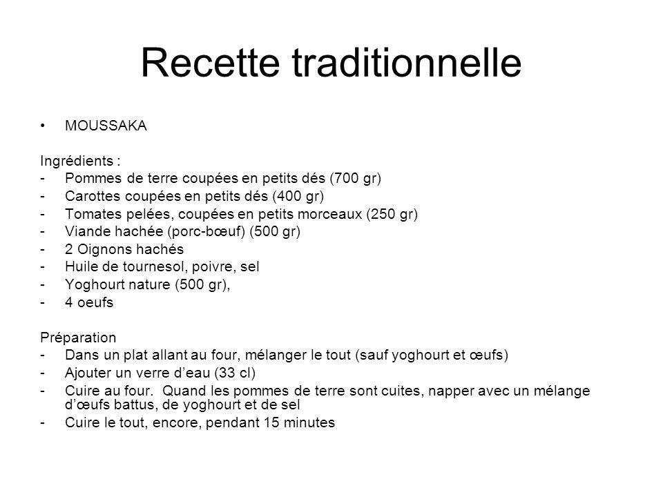 Recette traditionnelle MOUSSAKA Ingrédients : -Pommes de terre coupées en petits dés (700 gr) -Carottes coupées en petits dés (400 gr) -Tomates pelées, coupées en petits morceaux (250 gr) -Viande hachée (porc-bœuf) (500 gr) -2 Oignons hachés -Huile de tournesol, poivre, sel -Yoghourt nature (500 gr), -4 oeufs Préparation -Dans un plat allant au four, mélanger le tout (sauf yoghourt et œufs) -Ajouter un verre deau (33 cl) -Cuire au four.