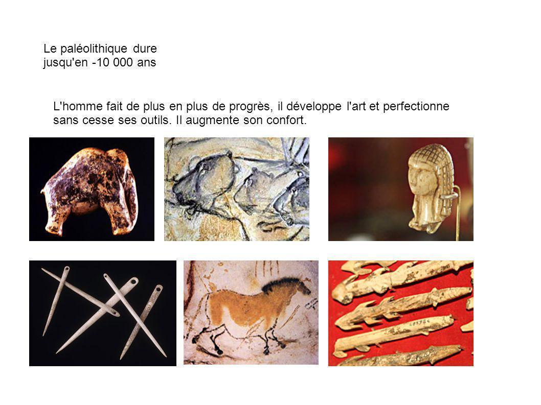 Le paléolithique dure jusqu'en -10 000 ans L'homme fait de plus en plus de progrès, il développe l'art et perfectionne sans cesse ses outils. Il augme