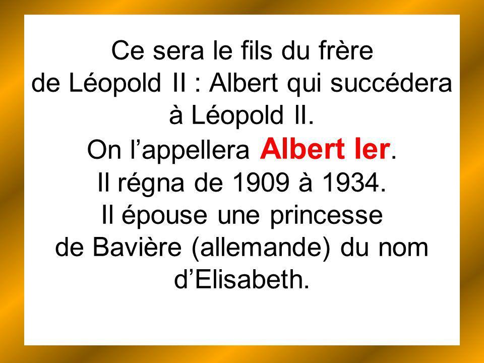 Ce sera le fils du frère de Léopold II : Albert qui succédera à Léopold lI.