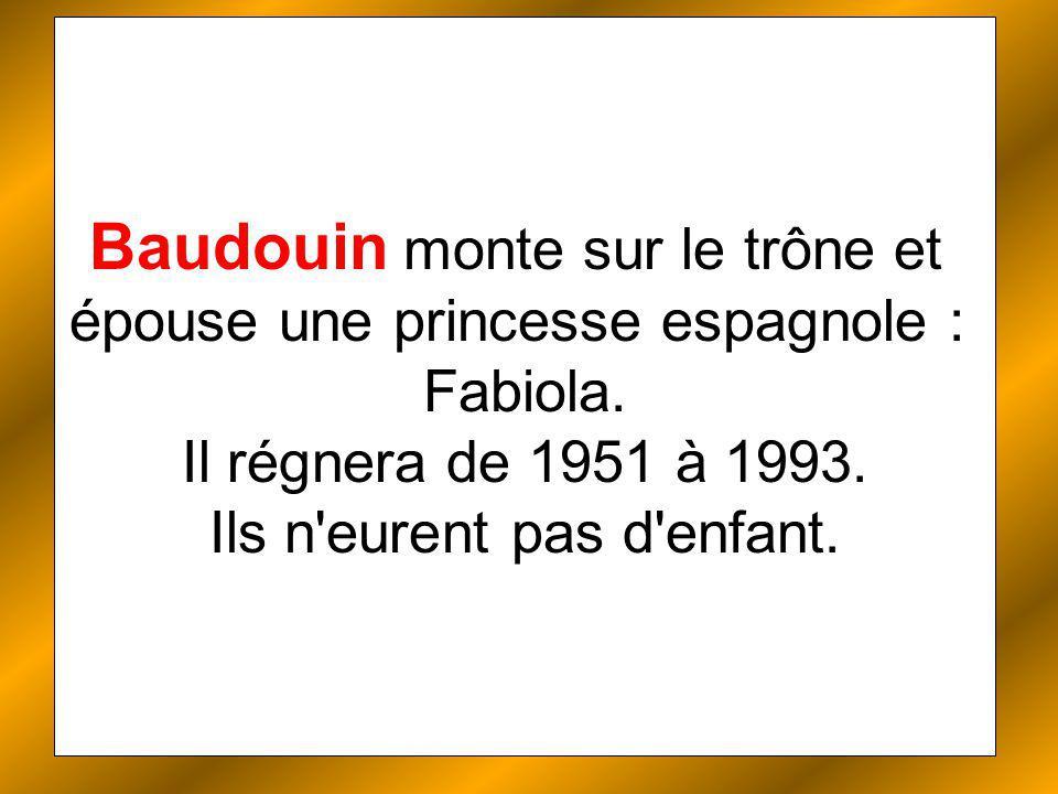 Baudouin monte sur le trône et épouse une princesse espagnole : Fabiola.