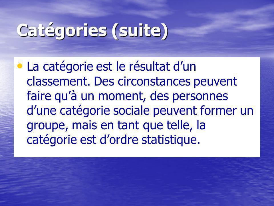 Catégories (suite) La catégorie est le résultat dun classement.