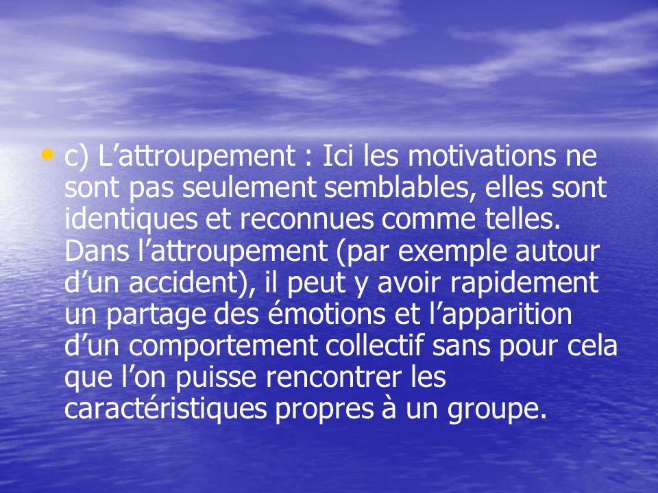 c) Lattroupement : Ici les motivations ne sont pas seulement semblables, elles sont identiques et reconnues comme telles.