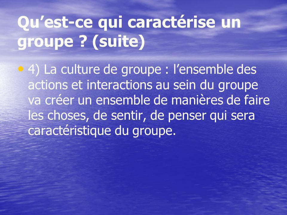 Les quatre points cités ci-dessus sont très importants pour différencier le groupe par rapport à dautres ensembles humains que lon appelle des catégories et des agrégats.