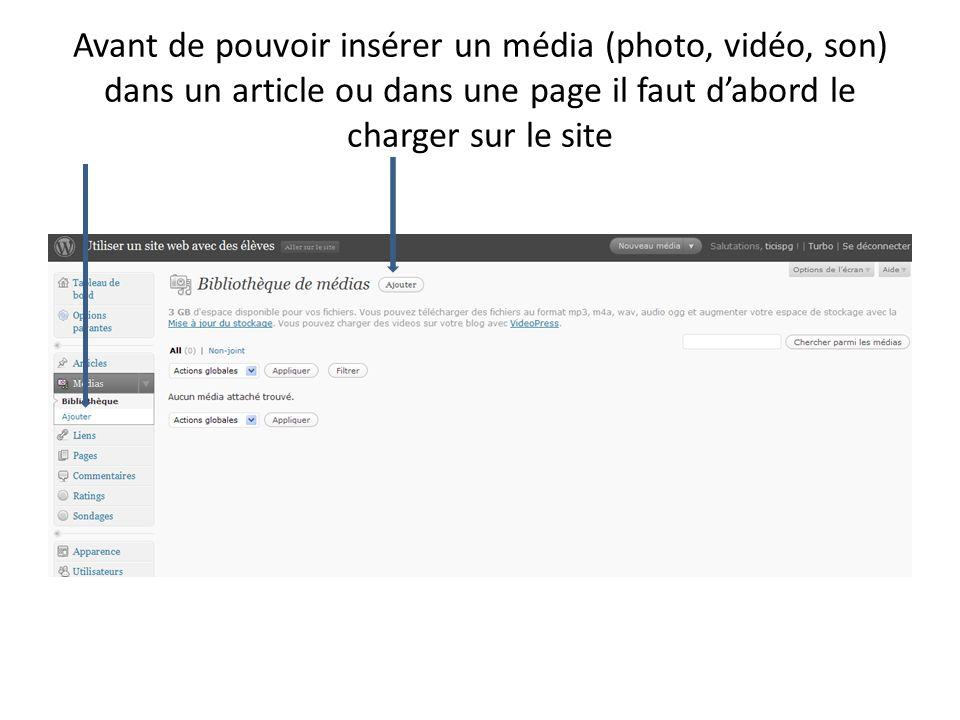 Avant de pouvoir insérer un média (photo, vidéo, son) dans un article ou dans une page il faut dabord le charger sur le site