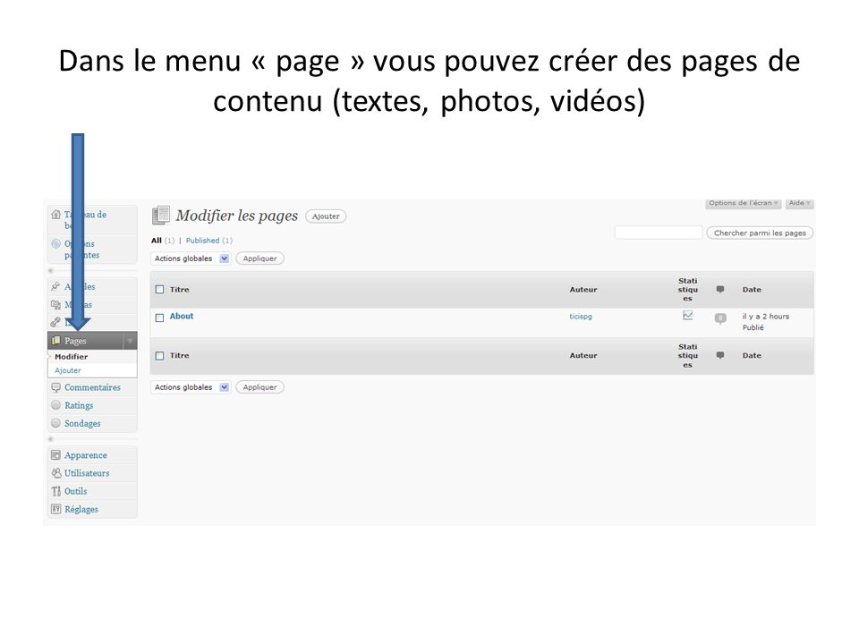 Dans le menu « page » vous pouvez créer des pages de contenu (textes, photos, vidéos)