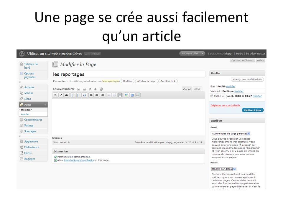 Une page se crée aussi facilement quun article