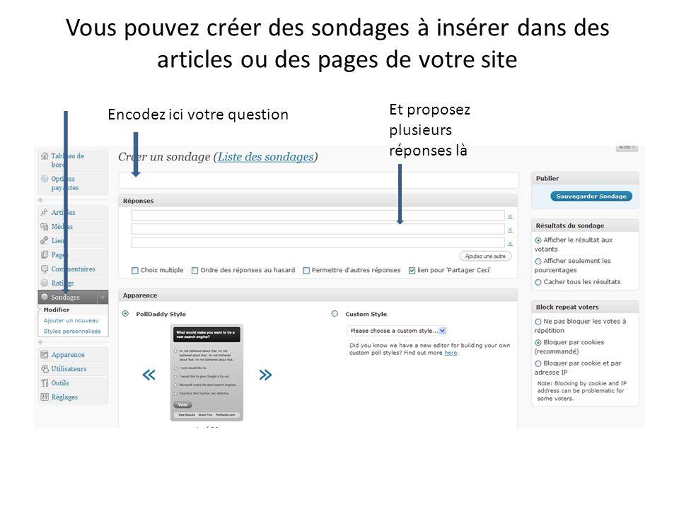 Vous pouvez créer des sondages à insérer dans des articles ou des pages de votre site Encodez ici votre question Et proposez plusieurs réponses là