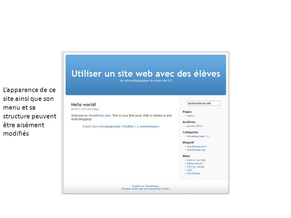 Lapparence de ce site ainsi que son menu et sa structure peuvent être aisément modifiés