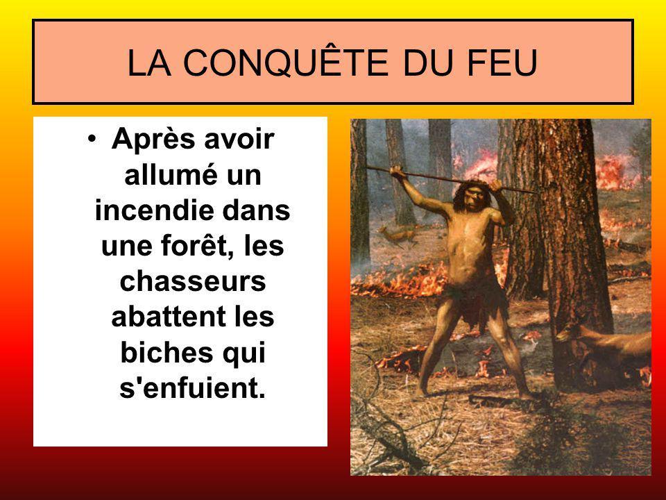 LA CONQUÊTE DU FEU Après avoir allumé un incendie dans une forêt, les chasseurs abattent les biches qui s'enfuient.