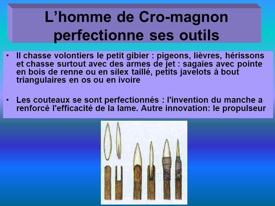 Lhomme de Cro-magnon perfectionne ses outils Il chasse volontiers le petit gibier : pigeons, lièvres, hérissons et chasse surtout avec des armes de je