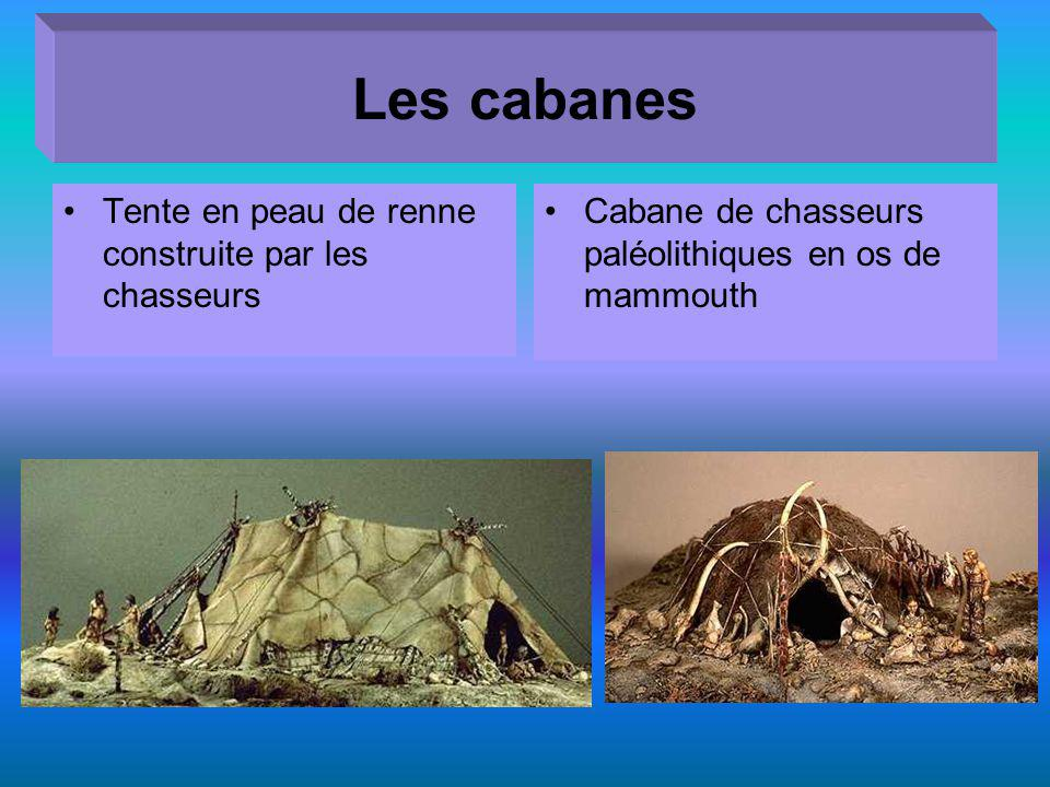 Les cabanes Tente en peau de renne construite par les chasseurs Cabane de chasseurs paléolithiques en os de mammouth