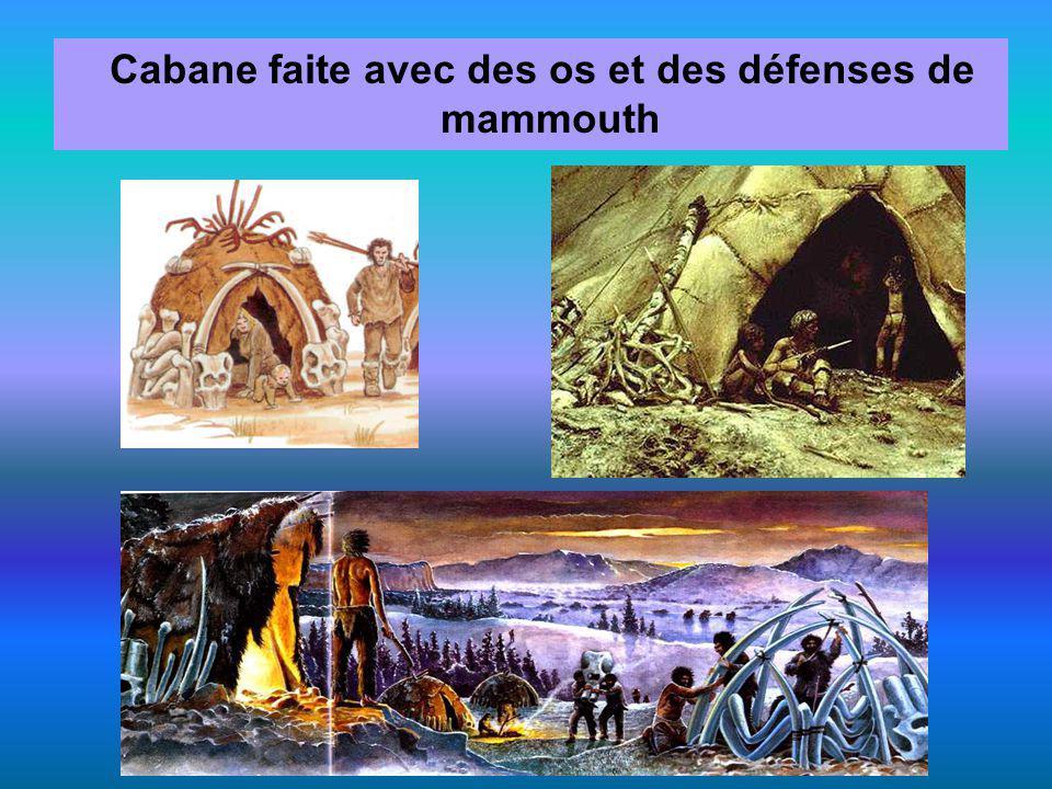 Cabane faite avec des os et des défenses de mammouth
