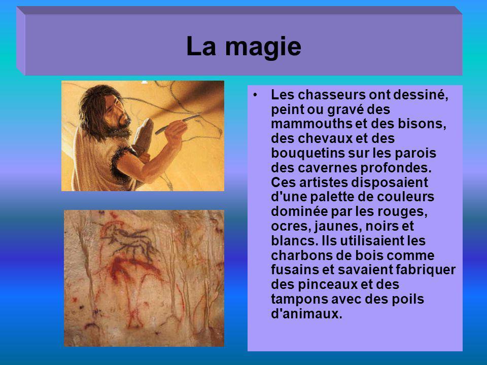 La magie Les chasseurs ont dessiné, peint ou gravé des mammouths et des bisons, des chevaux et des bouquetins sur les parois des cavernes profondes.