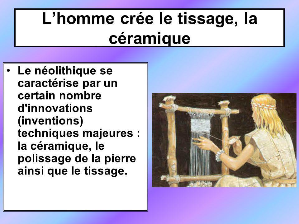 Lhomme crée le tissage, la céramique Le néolithique se caractérise par un certain nombre d innovations (inventions) techniques majeures : la céramique, le polissage de la pierre ainsi que le tissage.