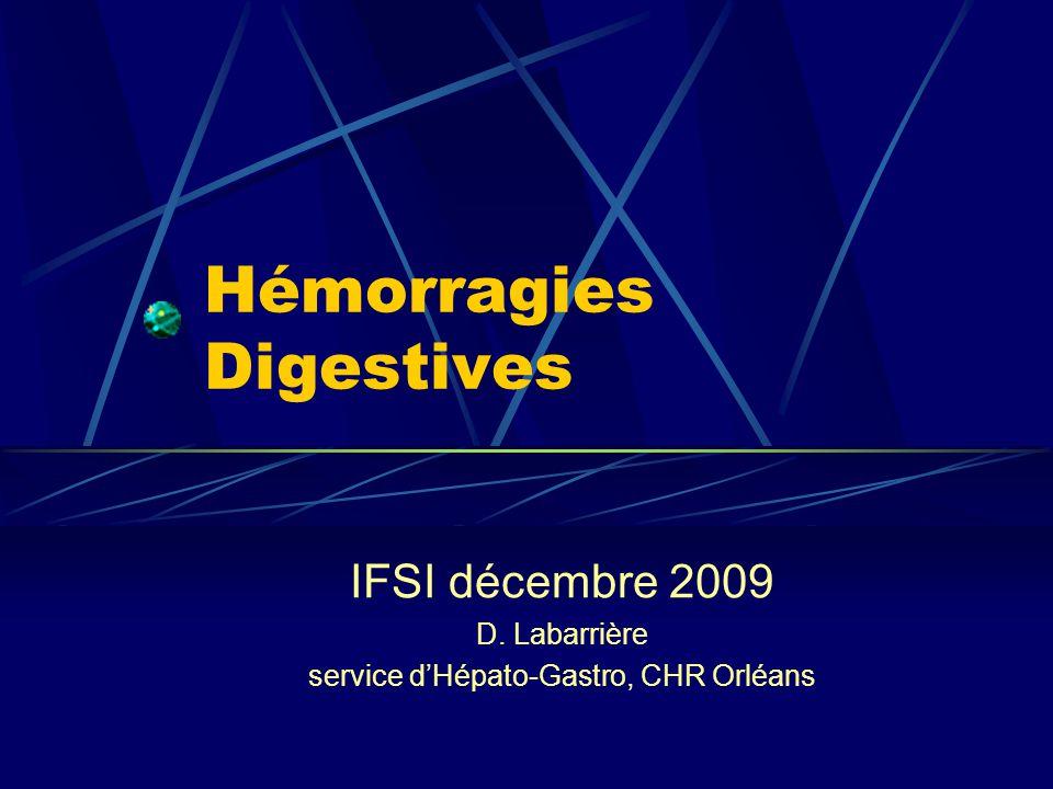 Hémorragies Digestives IFSI décembre 2009 D. Labarrière service dHépato-Gastro, CHR Orléans