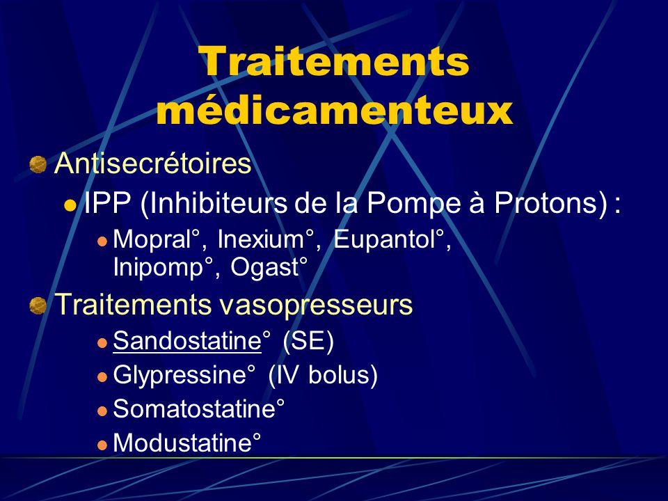 Traitements médicamenteux Antisecrétoires IPP (Inhibiteurs de la Pompe à Protons) : Mopral°, Inexium°, Eupantol°, Inipomp°, Ogast° Traitements vasopre