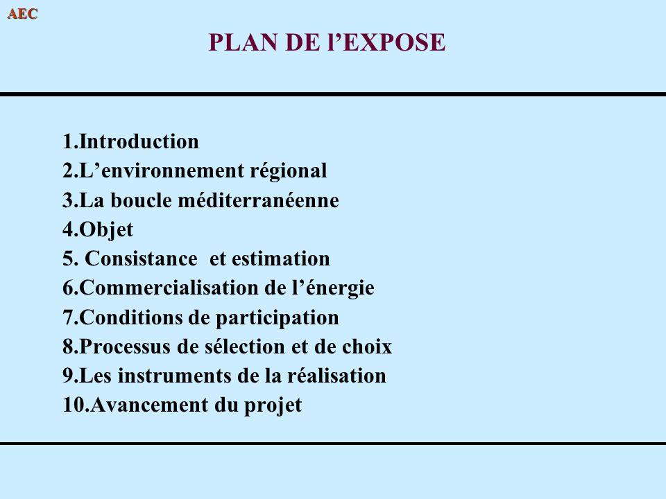 AEC PLAN DE lEXPOSE 1.Introduction 2.Lenvironnement régional 3.La boucle méditerranéenne 4.Objet 5. Consistance et estimation 6.Commercialisation de l