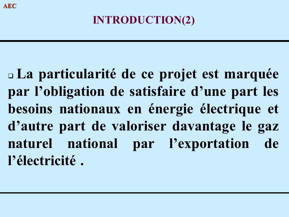AEC INTRODUCTION(2) La particularité de ce projet est marquée par lobligation de satisfaire dune part les besoins nationaux en énergie électrique et d