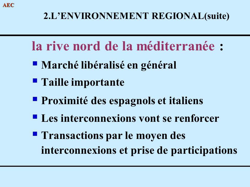 AEC 2.LENVIRONNEMENT REGIONAL(suite) la rive nord de la méditerranée : Marché libéralisé en général Taille importante Proximité des espagnols et itali