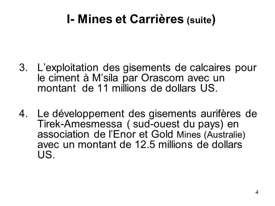 15 Actions engagées en 2004 (suite) Projet intégré de Gassi Touil : ouverture des plis le 17/11/ 2004 Raffinerie de condensat à Skikda : ouverture des plis en Novembre 2004 Lancement de lappel doffres de 10 blocs dexploration en date du 1/10/2004 Inauguration du projet dIn-Salah en Novembre 2004 Lancement de la 3ème usine dhélium en Novembre 2004